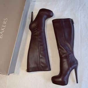 Bakers Burgundy leather heeled boots